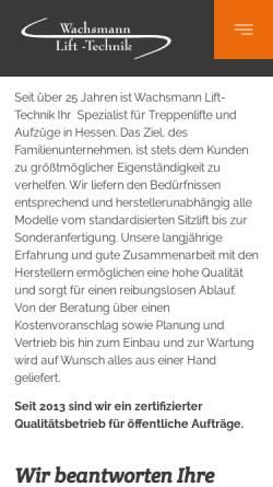 Vorschau der mobilen Webseite www.lift-technik.de, Wachsmann Lift-Technik