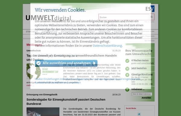 Vorschau von www.umweltdigital.de, UMWELTonline, ESV - Erich Schmidt Verlag GmbH & Co.