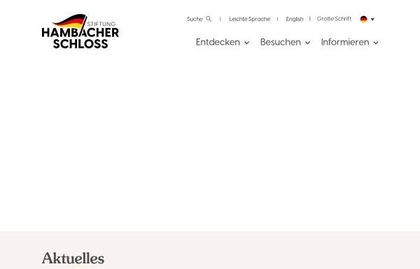 Vorschau von hambacher-schloss.de, Das Hambacher Schloss Pfalz Ausstellung zur Deutschen Geschichte