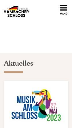 Vorschau der mobilen Webseite hambacher-schloss.de, Das Hambacher Schloss Pfalz Ausstellung zur Deutschen Geschichte