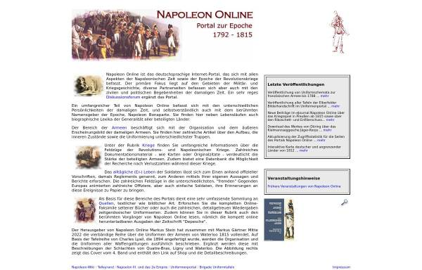Vorschau von www.napoleon-online.de, Napoleon Online - Informationsportal zur Epoche 1792-1815