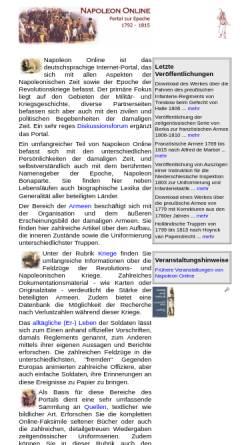 Vorschau der mobilen Webseite www.napoleon-online.de, Napoleon Online - Informationsportal zur Epoche 1792-1815