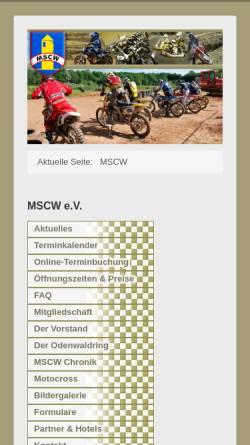 Vorschau der mobilen Webseite www.mscw.de, MSC Wartturm e.V. im ADAC