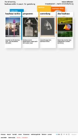 Vorschau der mobilen Webseite www.bauhaus.de, Bauhaus Archiv - Museum für Gestaltung