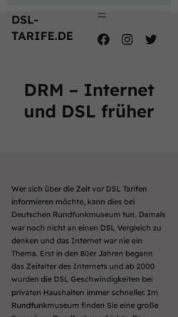 Vorschau der mobilen Webseite www.drm-berlin.de, Deutsches Rundfunk-Museum