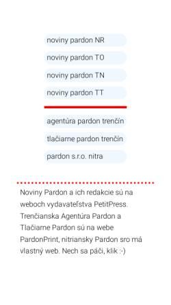 Vorschau der mobilen Webseite www.pardon.sk, Zeitung und Druckerei Pardon