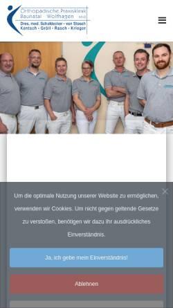 Vorschau der mobilen Webseite www.ortho-baunatal.de, REHA Baunatal - Ambulantes Zentrum, Orthopädische Praxisklinik Baunatal