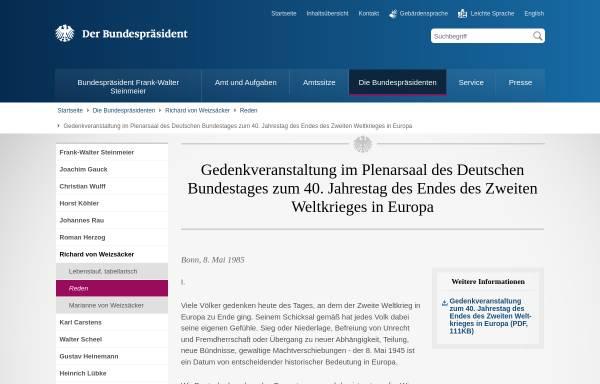 Vorschau von www.bundespraesident.de, Rede zum 8.Mai 1985