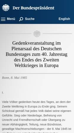 Vorschau der mobilen Webseite www.bundespraesident.de, Rede zum 8.Mai 1985