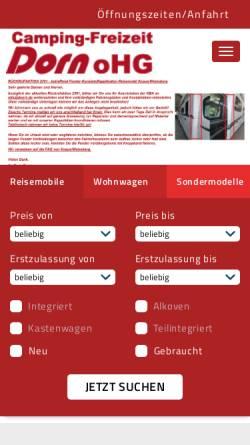 Vorschau der mobilen Webseite dorn1.de, Camping-Freizeit Dorn oHG