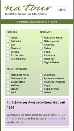 Vorschau der mobilen Webseite www.natour.ch, NaTour