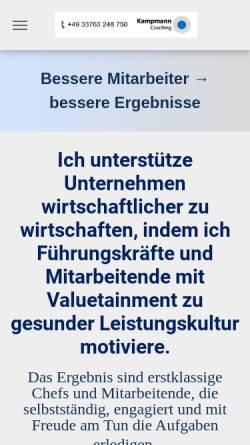 Vorschau der mobilen Webseite www.kampmann-coaching.de, Kampmann Coaching