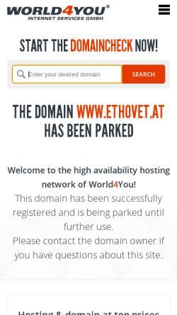 Vorschau der mobilen Webseite www.ethovet.at, Tierärztliche Verhaltensmedizin - Veterinärpsychiatrie