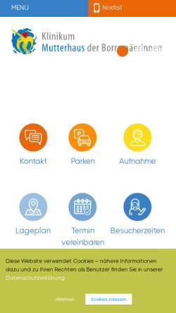 Vorschau der mobilen Webseite www.mutterhaus.de, Klinikum Mutterhaus der Borromäerinnen