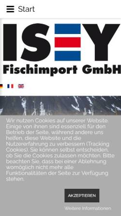 Vorschau der mobilen Webseite www.isey.de, ISEY - Fischimport GmbH