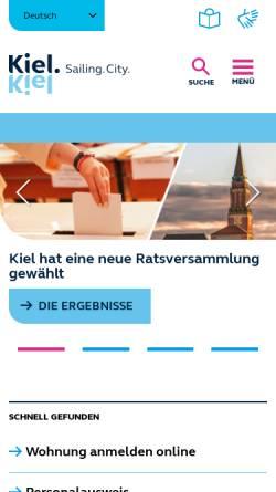 Vorschau der mobilen Webseite www.kiel.de, Landeshauptstadt Kiel