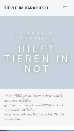 Vorschau der mobilen Webseite www.tierheim-paradiesli.ch, Tierheim Paradiesli in Ob- und Nidwalden