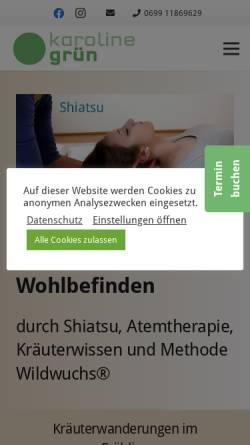 Vorschau der mobilen Webseite shiatsuinwien.at, Grün Karoline