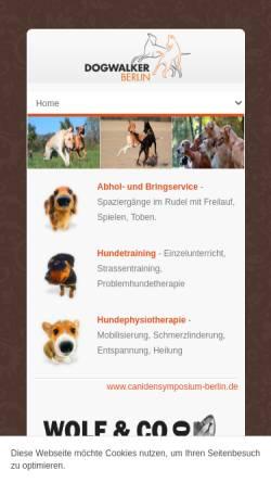 Vorschau der mobilen Webseite www.dogwalker-berlin.de, Dogwalker Berlin