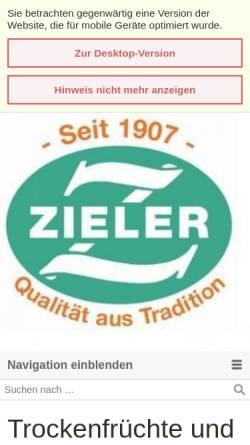 Vorschau der mobilen Webseite zieler.de, Zieler & Co. Trockenfrucht Import GmbH