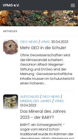 Vorschau der mobilen Webseite www.vfmg.de, VFMG | Vereinigung der Freunde der Mineralogie und Geologie e.V.