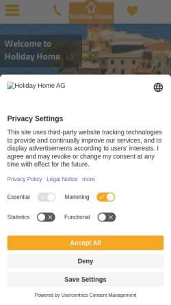 Vorschau der mobilen Webseite www.holiday-home.org, Holiday-Home, Interholiday AG