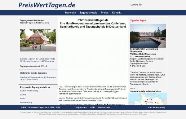 Vorschau von www.pwt-tagungshotels.de, PreisWertTagen.de [Hans Wolf & Heidrun Dürr GbR]