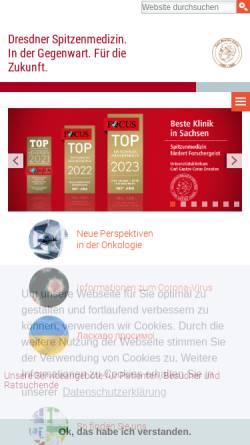 Vorschau der mobilen Webseite www.uniklinikum-dresden.de, Universitätsklinikum Carl Gustav Carus