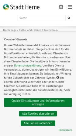 Vorschau der mobilen Webseite www.herne.de, Akademie Mont-Cenis - Fortbildungsakademie des Innenministeriums NRW