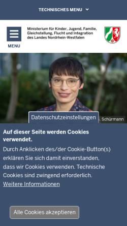 Vorschau der mobilen Webseite www.mfkjks.nrw.de, Ministerium für Familie, Kinder, Jugend, Kultur und Sport des Landes Nordrhein-Westfalen (MFKJKS NRW)