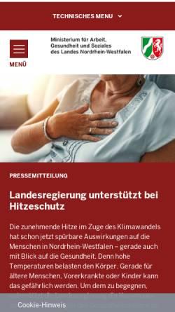 Vorschau der mobilen Webseite www.mais.nrw.de, Ministerium für Arbeit, Integration und Soziales des Landes Nordrhein-Westfalen (MAIS NRW)