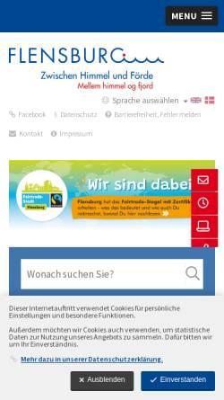 Vorschau der mobilen Webseite www.flensburg.de, Stadt Flensburg