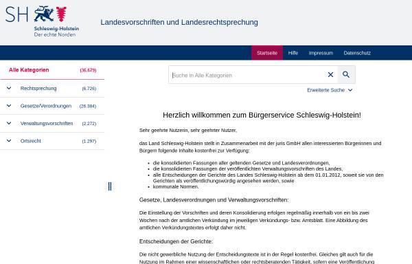 Vorschau von www.gesetze-rechtsprechung.sh.juris.de, Sammlung des Schleswig-Holsteinischen Landesrechts