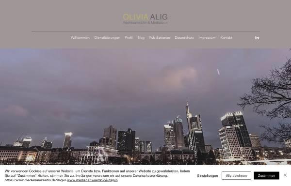 Vorschau von www.oliviaalig.de, Rechtsanwältin Olivia Alig, Frankfurt am Main