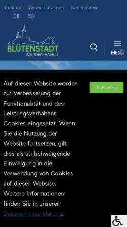 Vorschau der mobilen Webseite www.werder-havel.de, Werder (Havel)