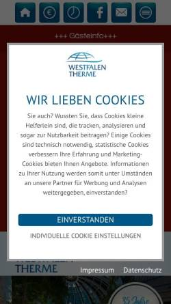 Vorschau der mobilen Webseite www.westfalen-therme.de, Westfalen-Therme Bad Lippspringe