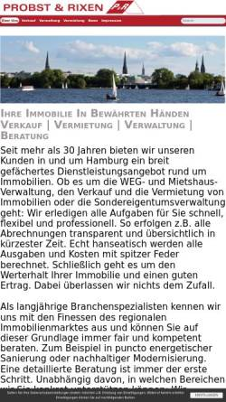 Vorschau der mobilen Webseite www.probst-rixen.de, Probst & Rixen