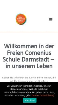 Vorschau der mobilen Webseite www.fcs-da.de, Freie Comenius Schule Darmstadt