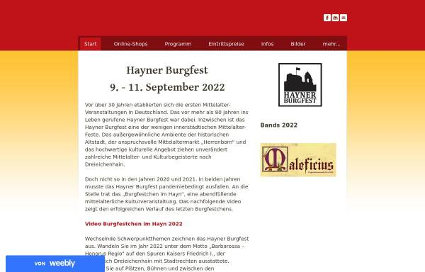 Vorschau von www.hayner-burgfest.de, Hainer Burgfest