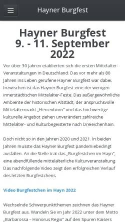 Vorschau der mobilen Webseite www.hayner-burgfest.de, Hainer Burgfest