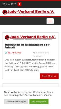 Vorschau der mobilen Webseite www.judo-verband-berlin.de, Judo-Verband Berlin e.V.