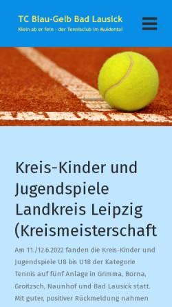 Vorschau der mobilen Webseite www.tcbadlausick.de, TC Blau-Gelb Bad Lausick e.V.