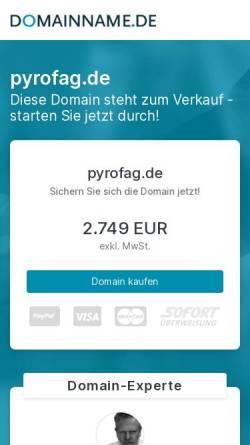 Vorschau der mobilen Webseite pyrofag.de, PYROFAG - Ein Unternehmen mit 100jähriger Traditon