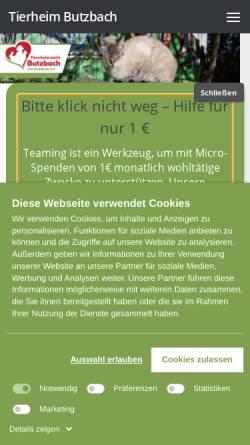 Vorschau der mobilen Webseite www.tierheim-butzbach.de, Tierschutzverein Butzbach und Umgebung e.V.