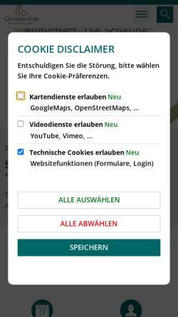 Vorschau der mobilen Webseite www.geisenheim.de, Stadt Geisenheim