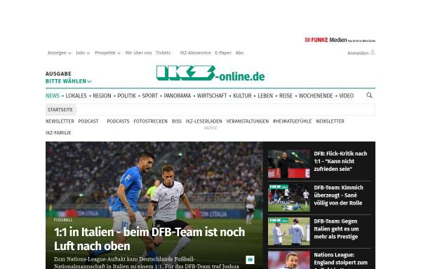 Vorschau von www.ikz-online.de, Iserlohner Kreisanzeiger und Zeitung