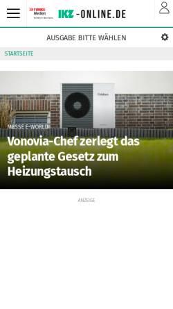 Vorschau der mobilen Webseite www.ikz-online.de, Iserlohner Kreisanzeiger und Zeitung