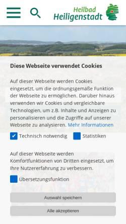 Vorschau der mobilen Webseite www.heilbad-heiligenstadt.de, Heilbad Heiligenstadt