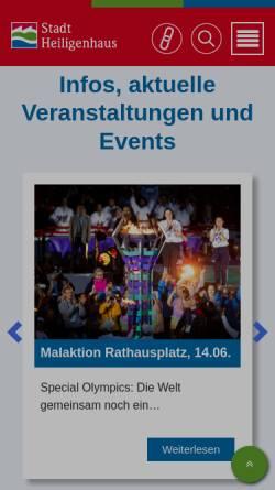 Vorschau der mobilen Webseite www.heiligenhaus.de, Stadt Heiligenhaus