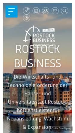 Vorschau der mobilen Webseite www.rostock-business.com, Gesellschaft für Wirtschafts- und Technologieförderung Rostock mbH